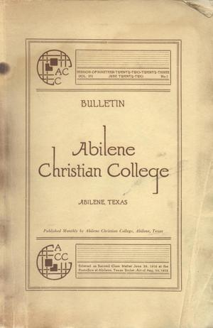 Primary view of object titled 'Catalog of Abilene Christian College, 1922-1923'.