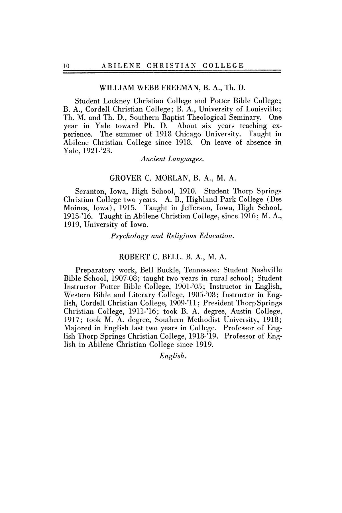 Catalog of Abilene Christian College, 1922-1923                                                                                                      10