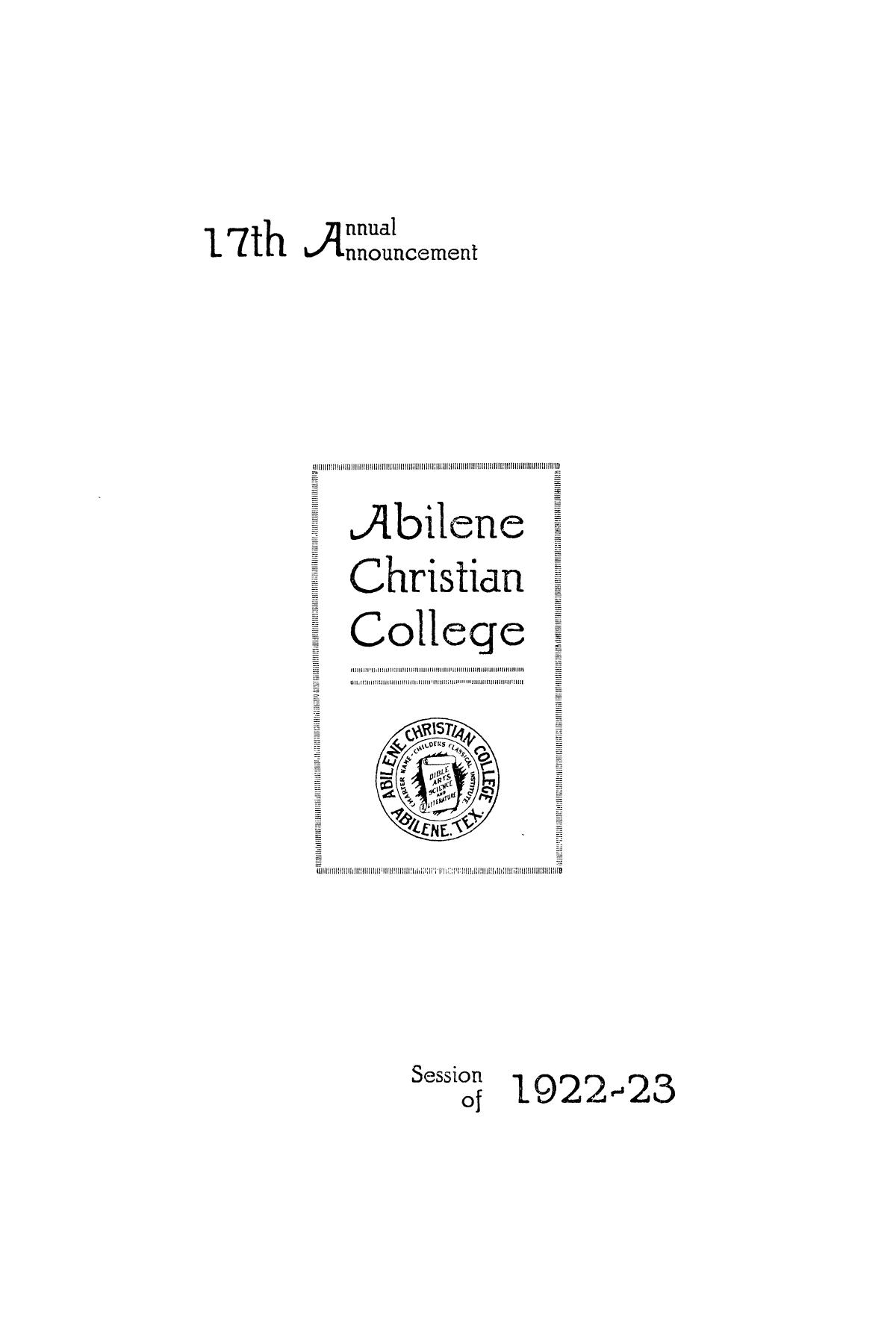 Catalog of Abilene Christian College, 1922-1923                                                                                                      1