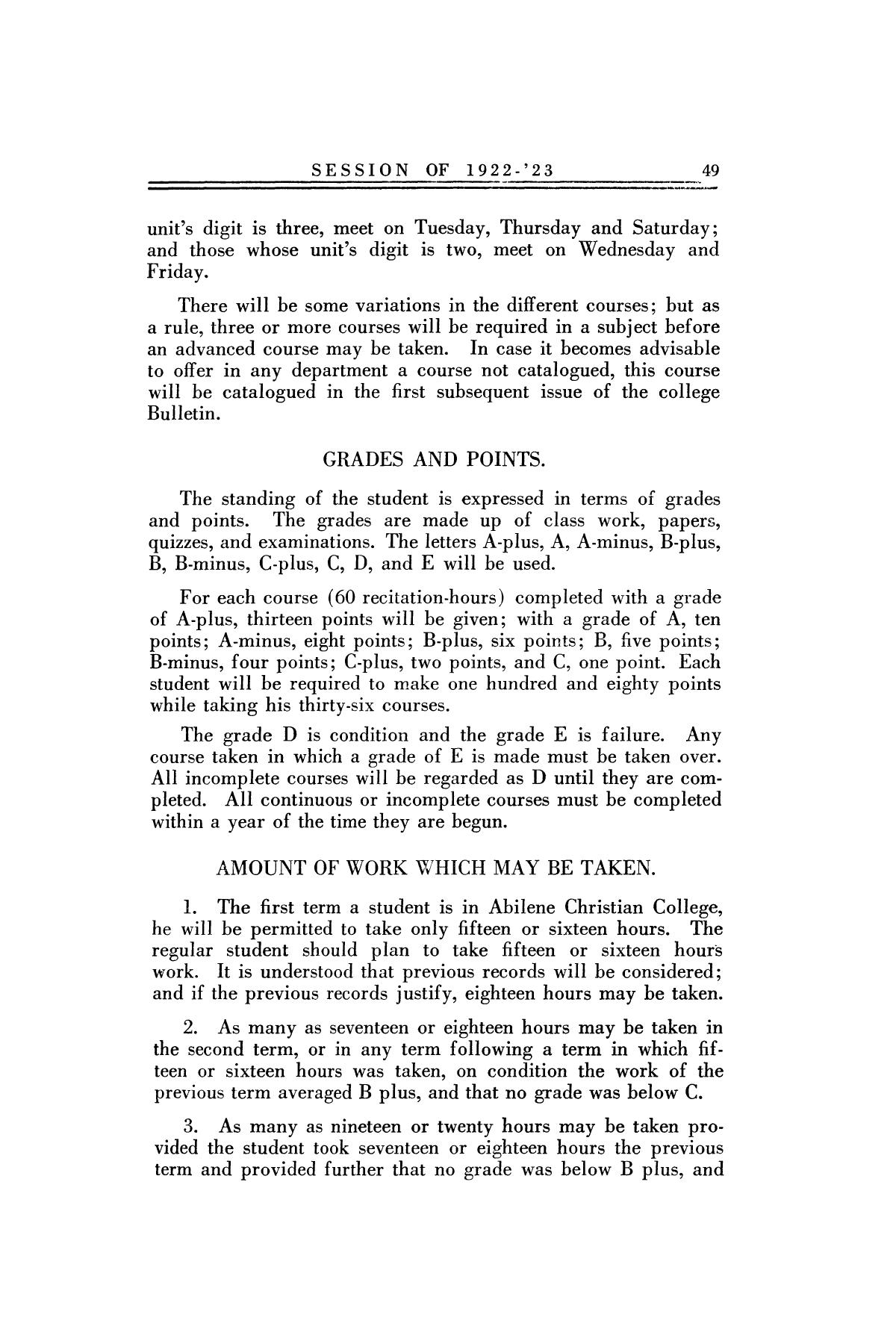 Catalog of Abilene Christian College, 1922-1923                                                                                                      49