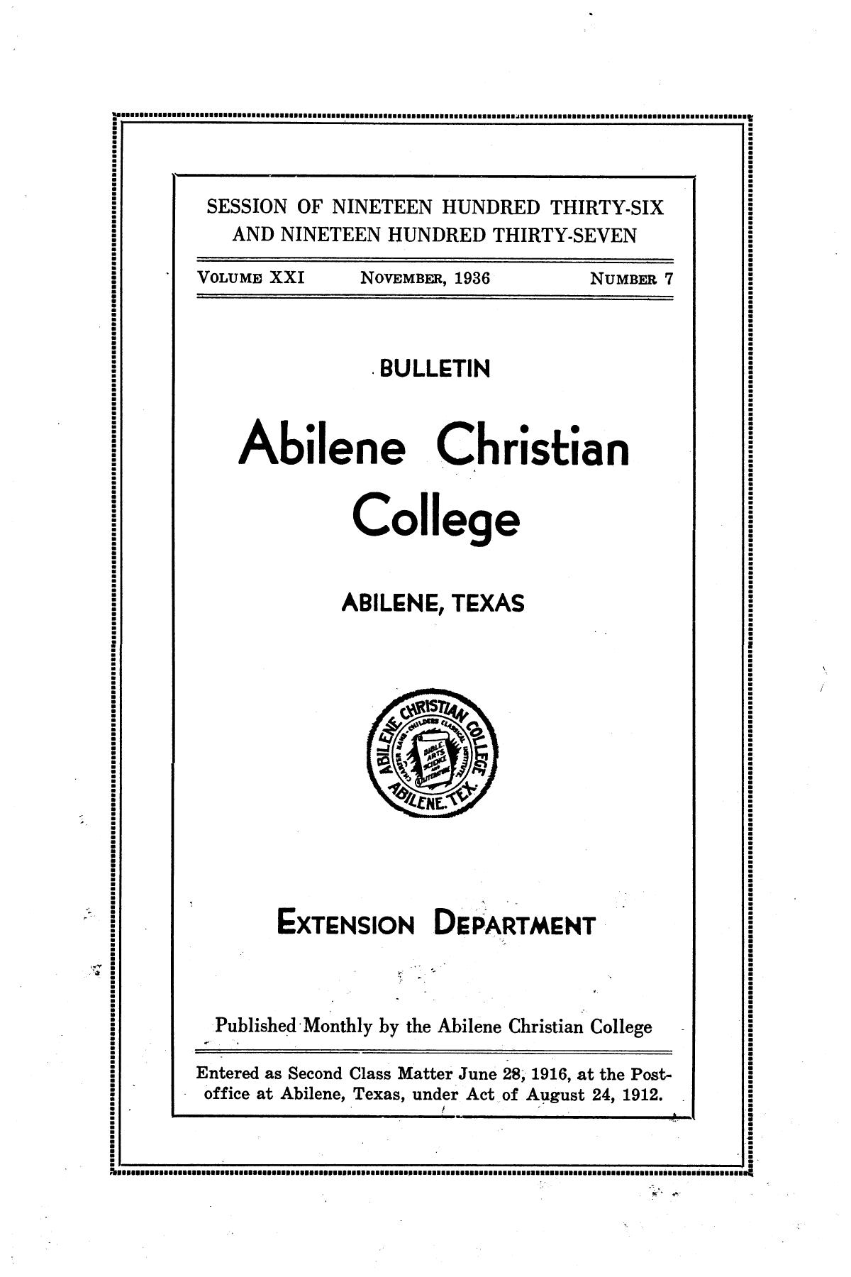 Catalog of Abilene Christian College, 1936-1937                                                                                                      Front Cover