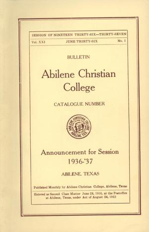 Primary view of object titled 'Catalog of Abilene Christian College, 1936-1937'.