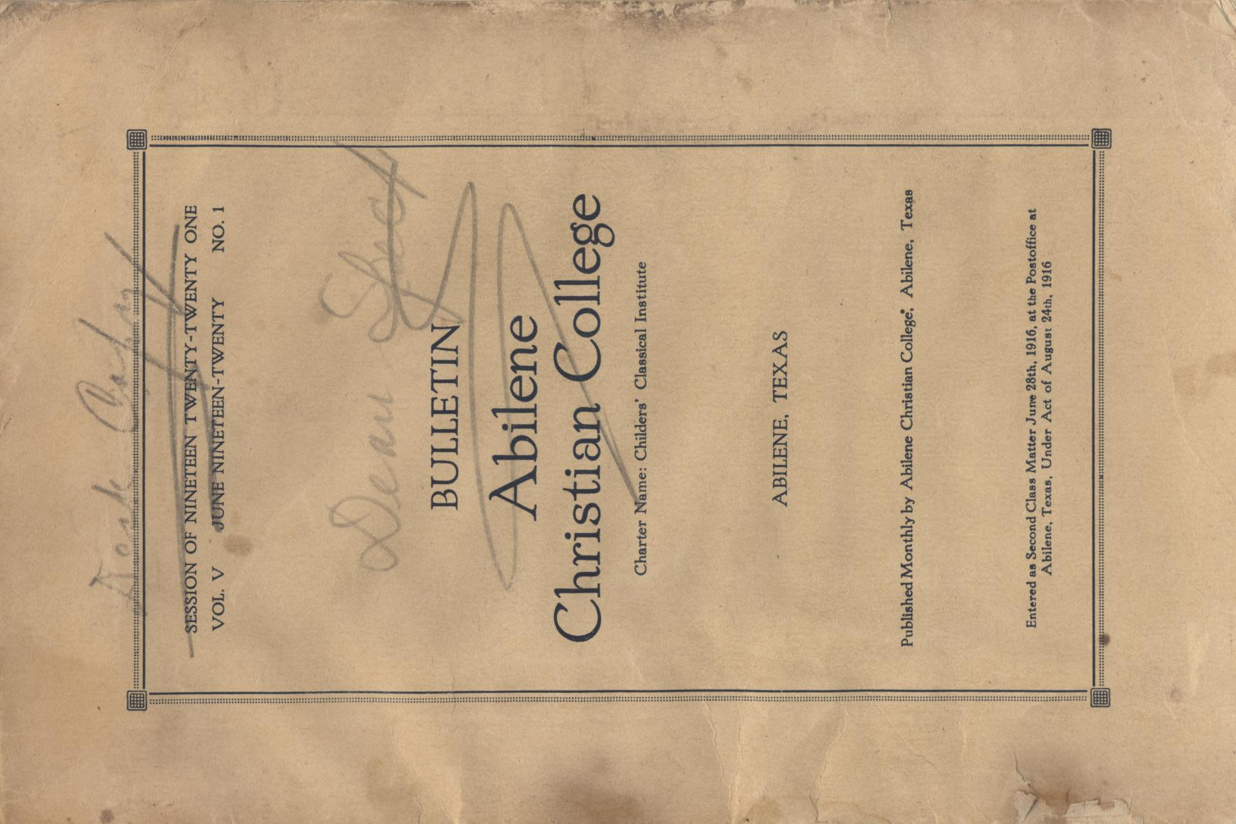 Catalog of Abilene Christian College, 1920-1921                                                                                                      Front Cover