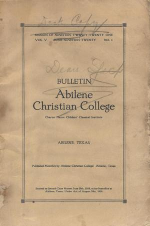 Primary view of object titled 'Catalog of Abilene Christian College, 1920-1921'.