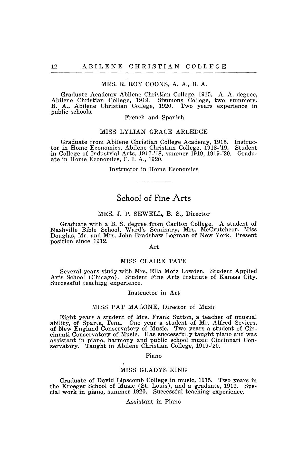 Catalog of Abilene Christian College, 1920-1921                                                                                                      12