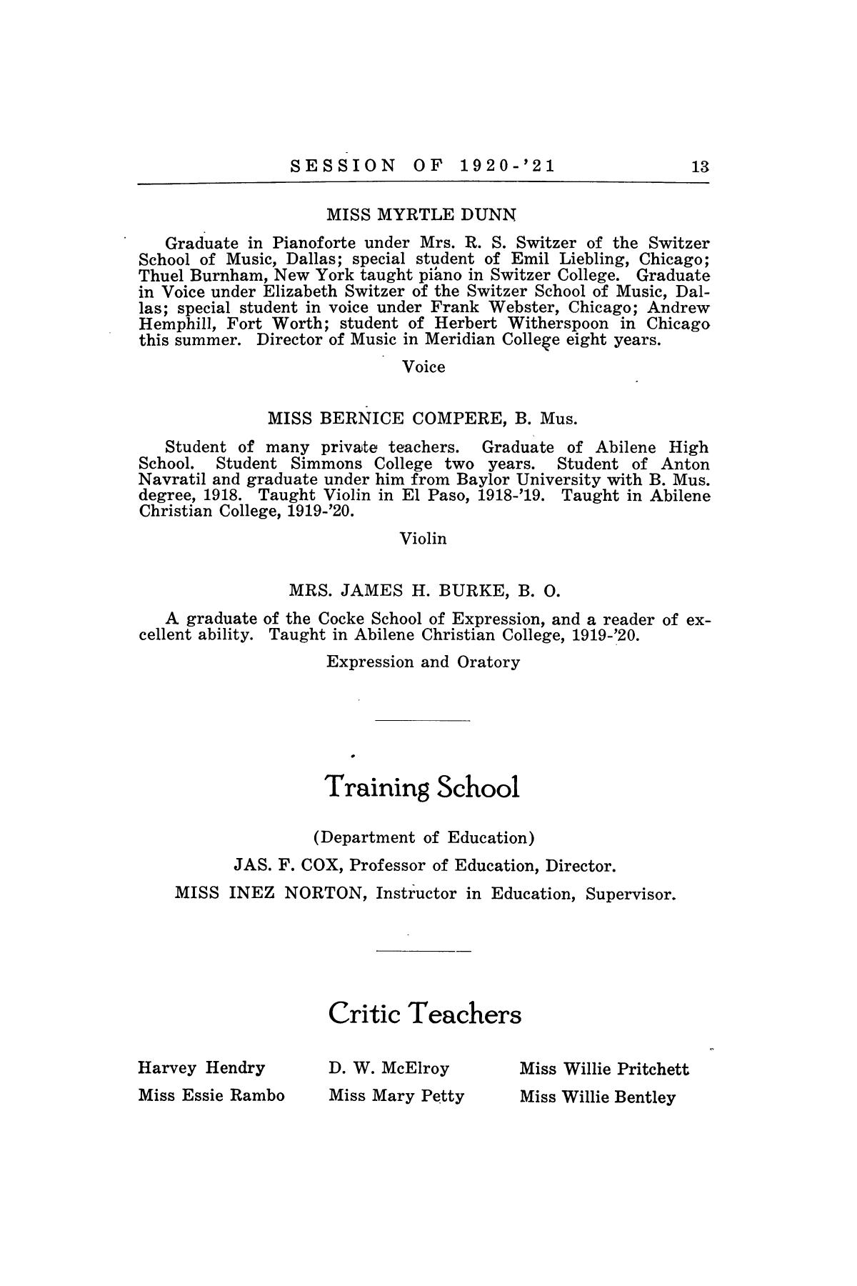 Catalog of Abilene Christian College, 1920-1921                                                                                                      13