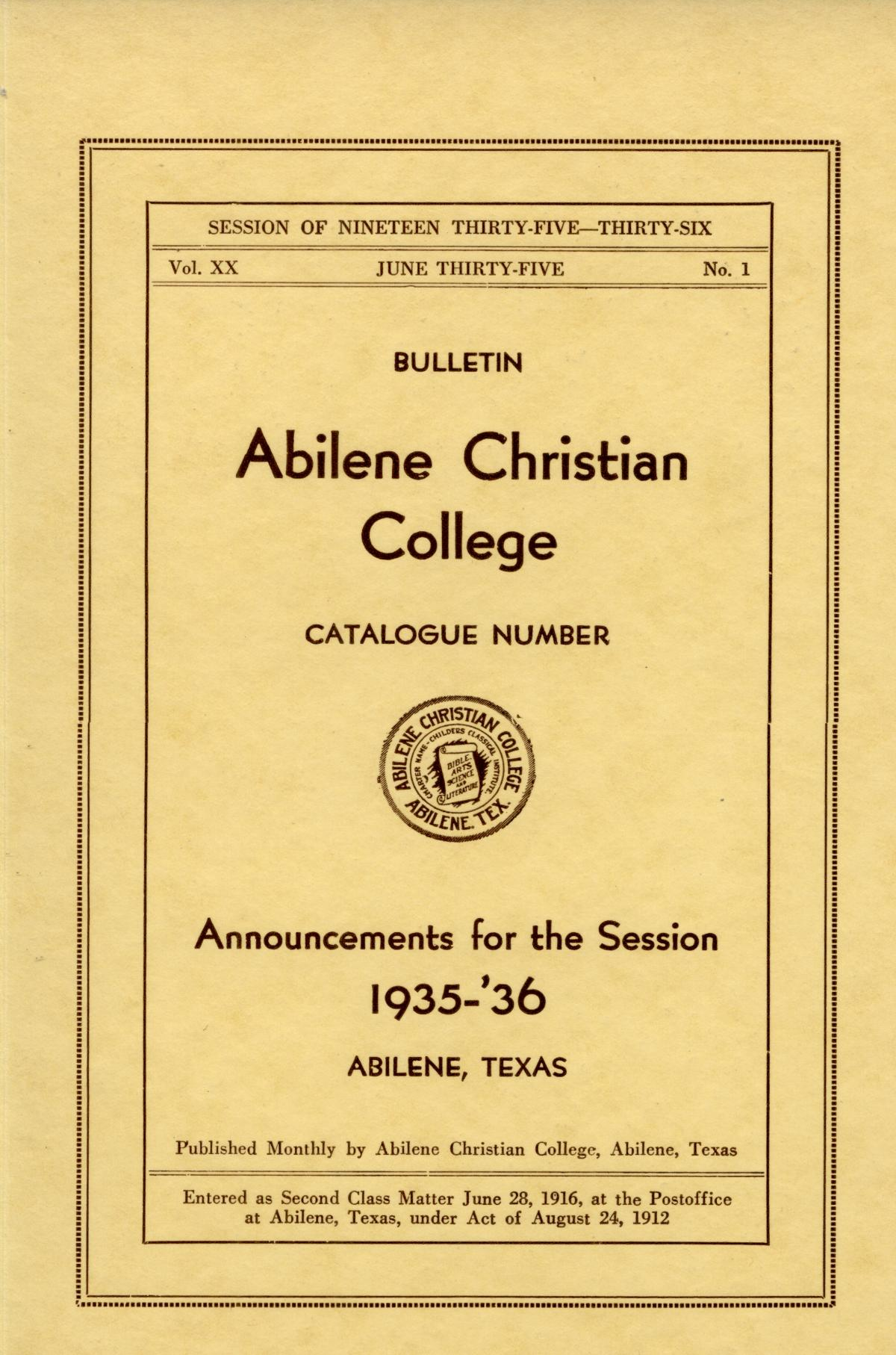 Catalog of Abilene Christian College, 1935-1936                                                                                                      Front Cover