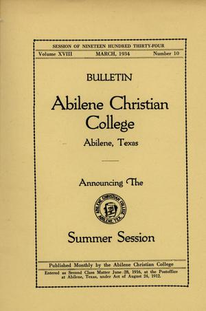 Primary view of object titled 'Catalog of Abilene Christian College, 1934'.