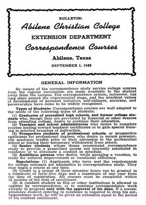 Catalog of Abilene Christian College, 1949