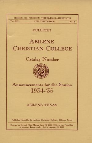 Primary view of object titled 'Catalog of Abilene Christian College, 1934-1935'.