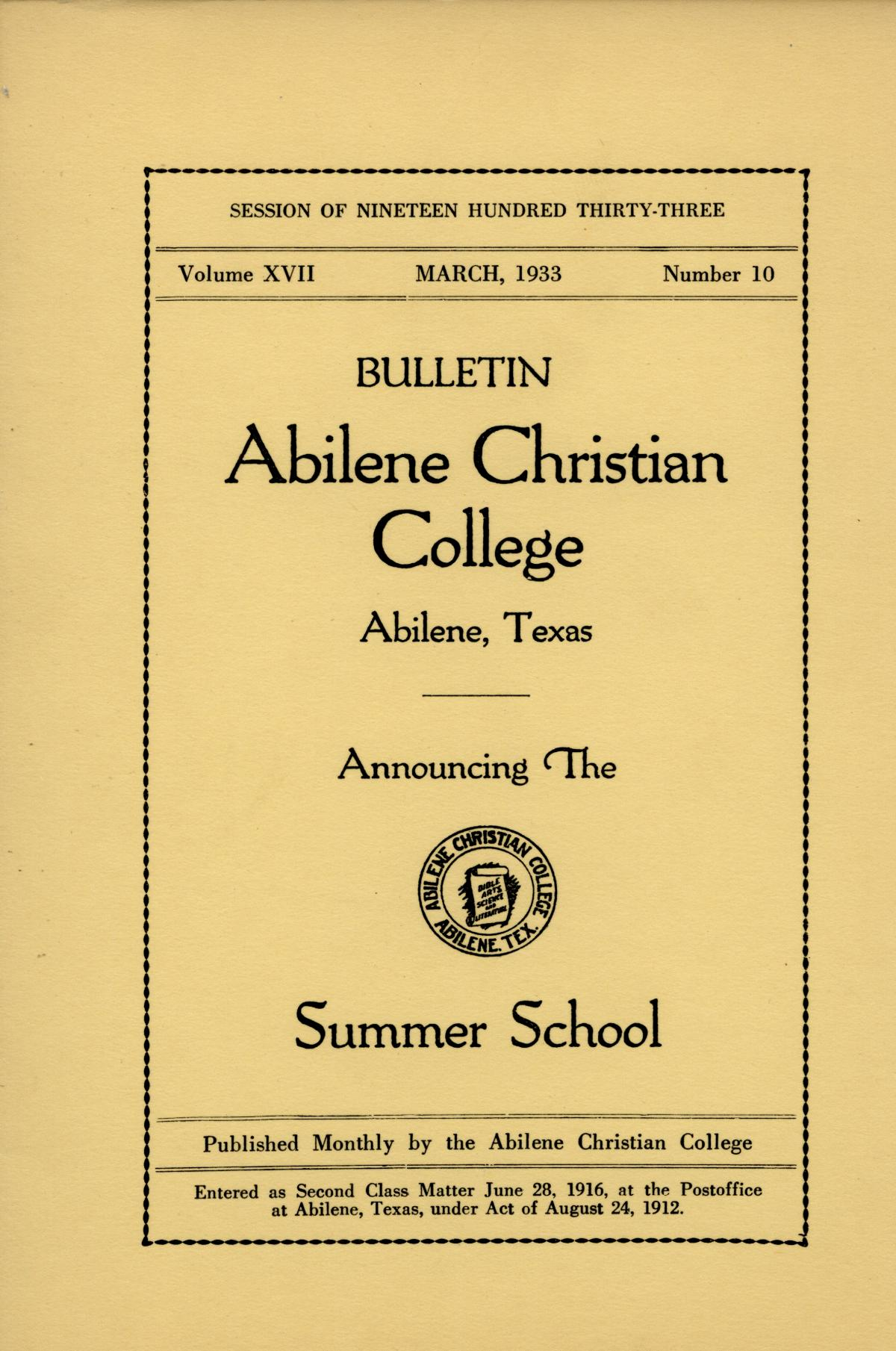 Catalog of Abilene Christian College, 1933                                                                                                      Front Cover