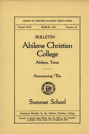 Primary view of object titled 'Catalog of Abilene Christian College, 1933'.
