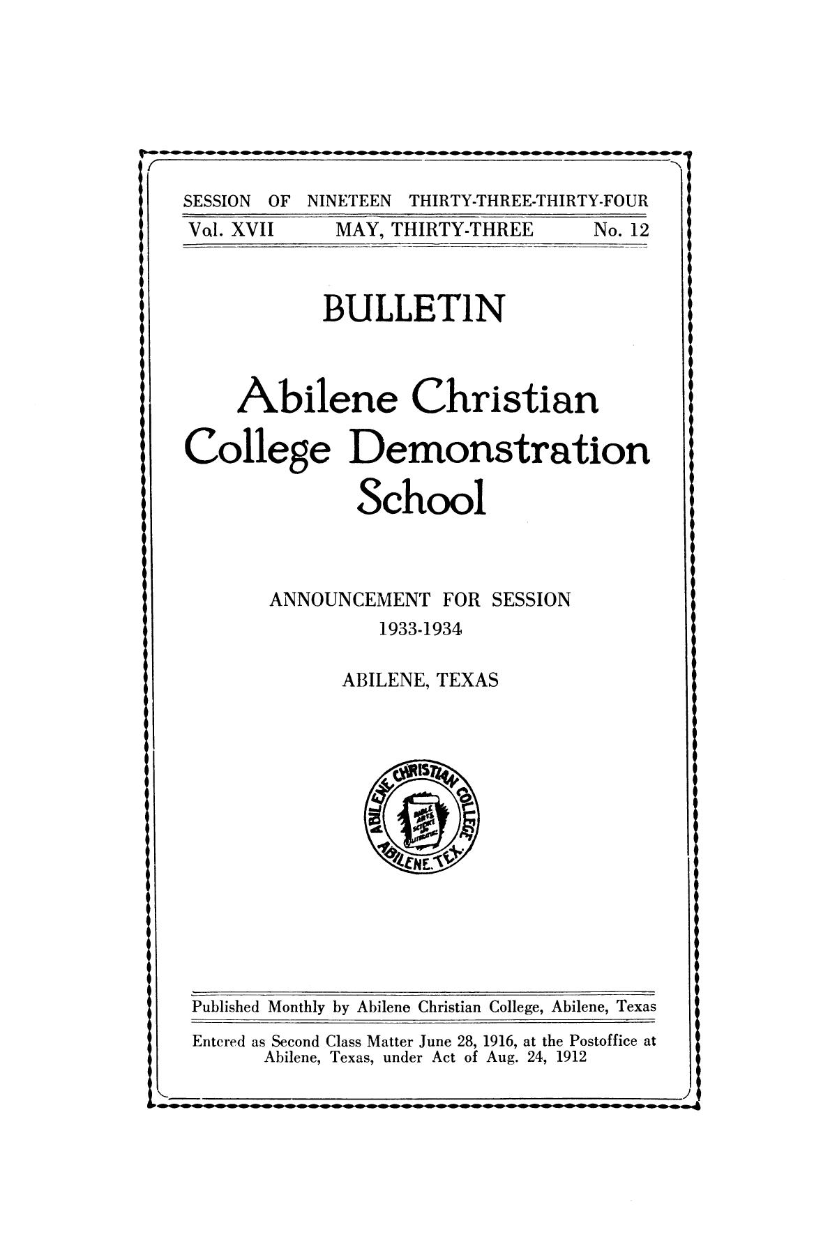 Catalog of Abilene Christian College, 1933-1934                                                                                                      Front Cover