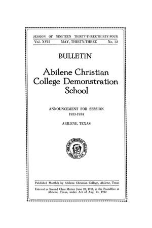 Primary view of object titled 'Catalog of Abilene Christian College, 1933-1934'.
