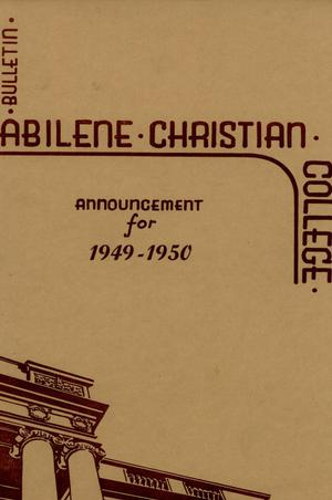 Primary view of object titled 'Catalog of Abilene Christian College, 1949-1950'.