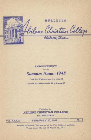 Primary view of object titled 'Catalog of Abilene Christian College, 1948'.