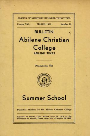 Primary view of object titled 'Catalog of Abilene Christian College, 1932'.