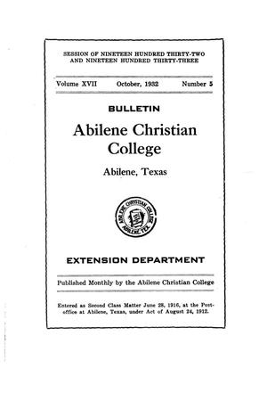 Catalog of Abilene Christian College, 1932-1933