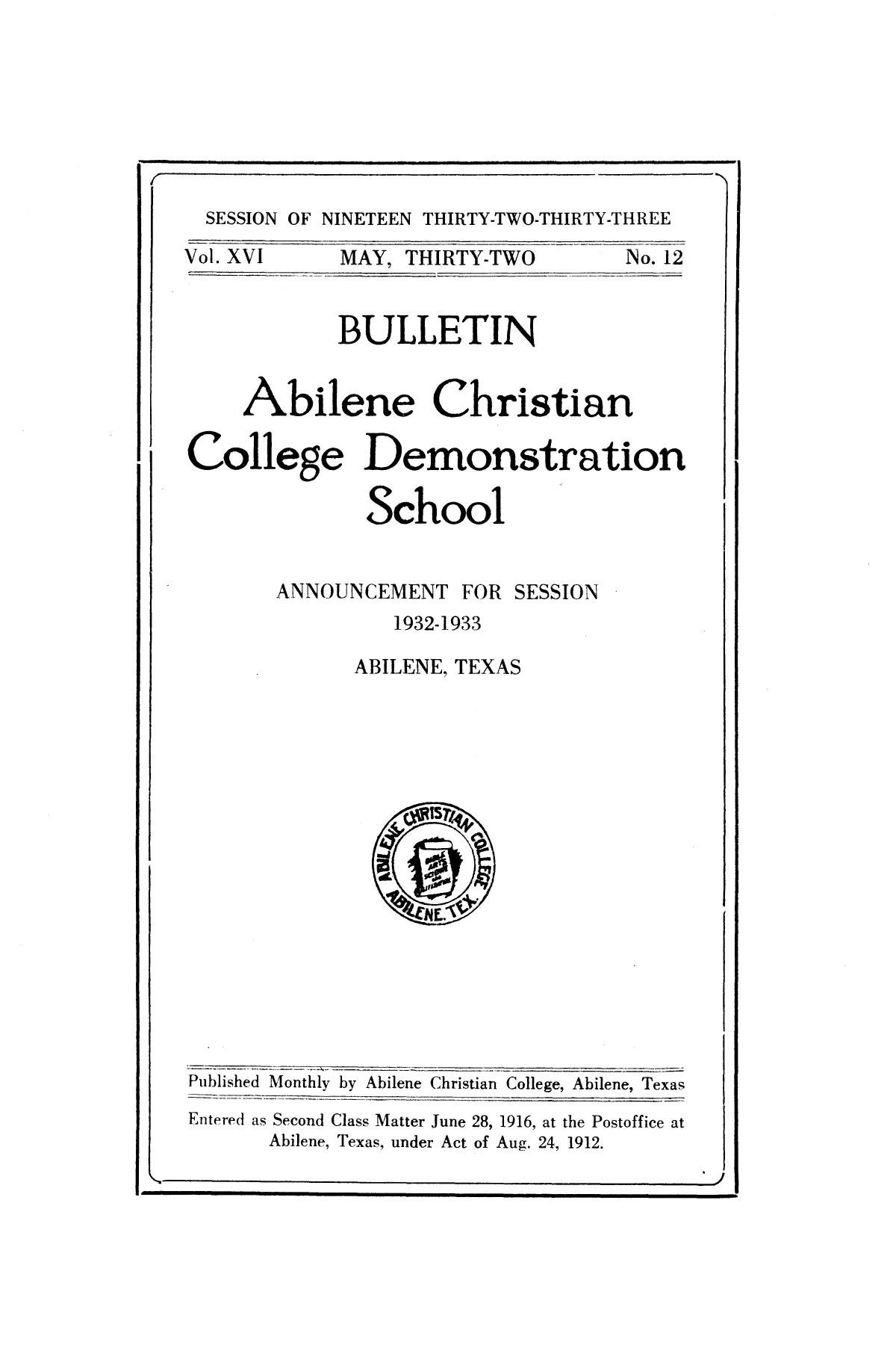 Catalog of Abilene Christian College, 1932-1933                                                                                                      Front Cover