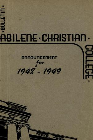Primary view of object titled 'Catalog of Abilene Christian College, 1948-1949'.