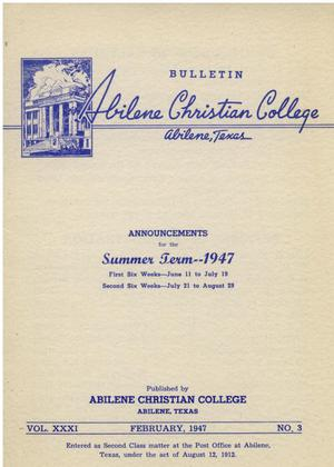 Primary view of object titled 'Catalog of Abilene Christian College, 1947'.