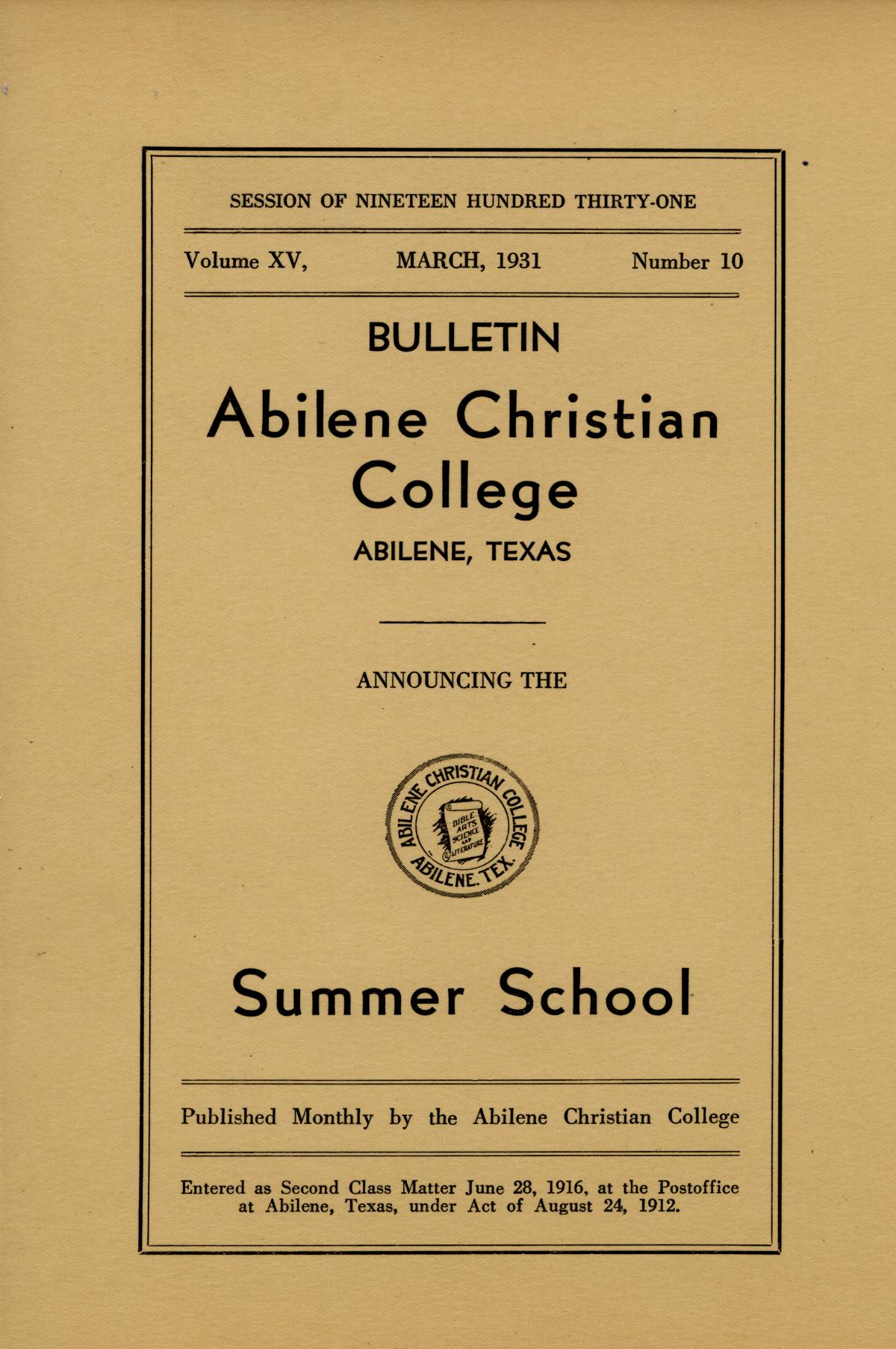 Catalog of Abilene Christian College, 1931                                                                                                      Front Cover