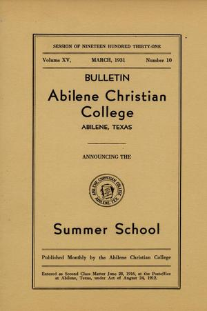 Primary view of object titled 'Catalog of Abilene Christian College, 1931'.