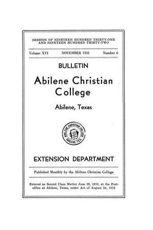 Primary view of object titled 'Catalog of Abilene Christian College, 1931-1932'.
