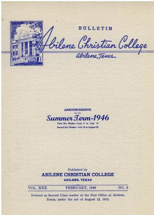 Primary view of object titled 'Catalog of Abilene Christian College, 1946'.