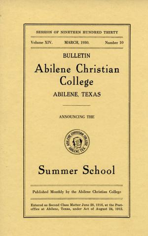 Primary view of object titled 'Catalog of Abilene Christian College, 1930'.