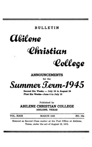 Primary view of object titled 'Catalog of Abilene Christian College, 1945'.