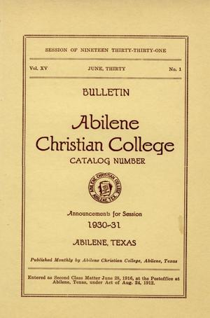 Primary view of Catalog of Abilene Christian College, 1930-1931
