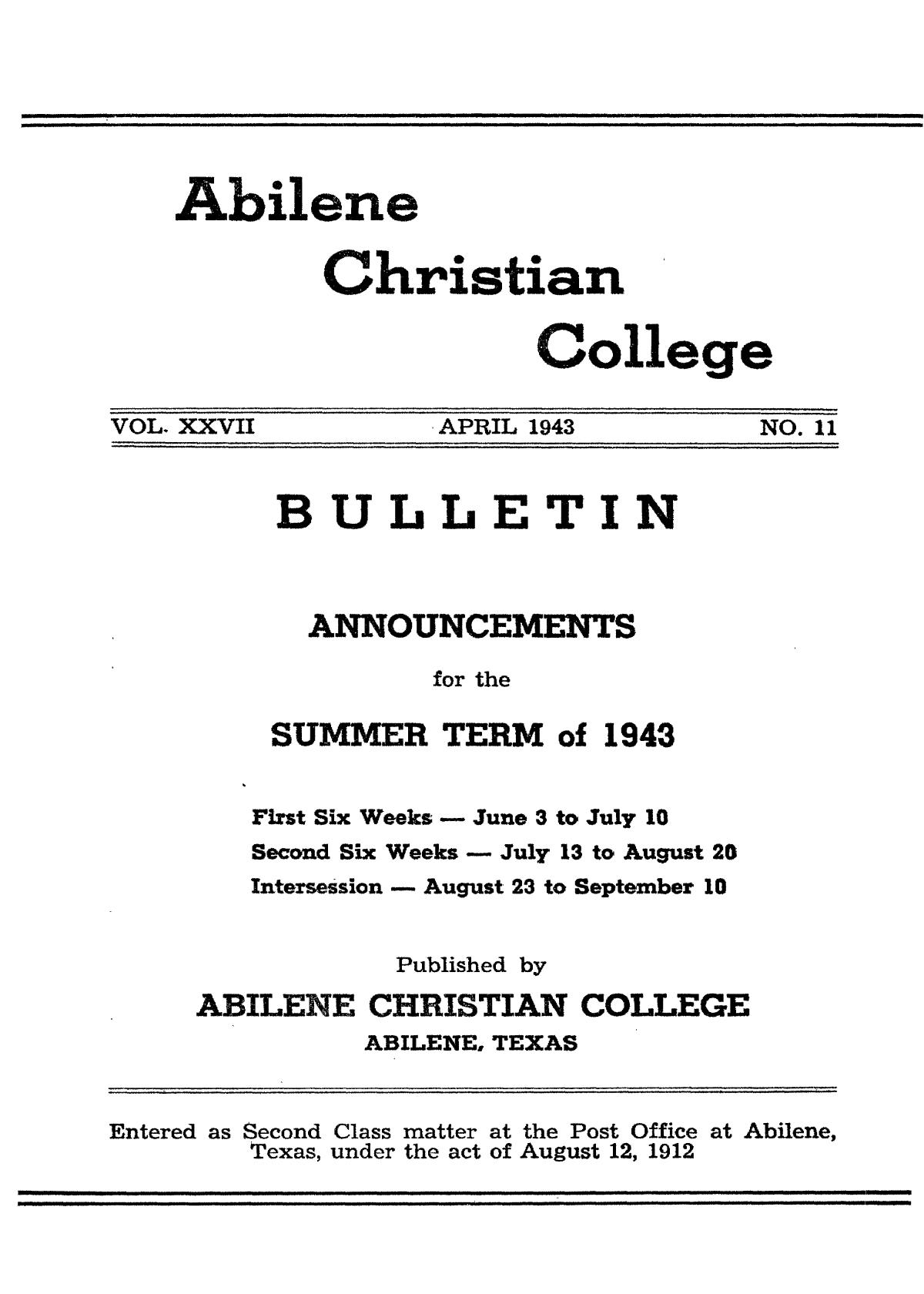 Catalog of Abilene Christian College, 1943                                                                                                      Front Cover