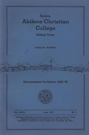 Primary view of object titled 'Catalog of Abilene Christian College, 1942-1943'.