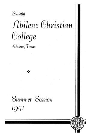 Primary view of object titled 'Catalog of Abilene Christian College, 1941'.