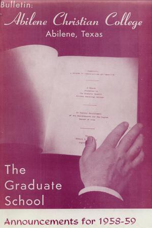 Primary view of object titled 'Catalog of Abilene Christian College, 1958-1959'.