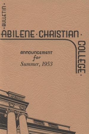 Catalog of Abilene Christian College, 1953