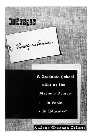 Primary view of object titled '[Catalog of Abilene Christian College, 1953]'.