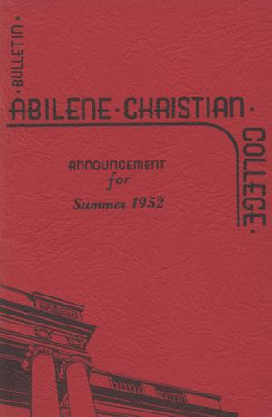 Primary view of object titled 'Catalog of Abilene Christian College, 1952'.