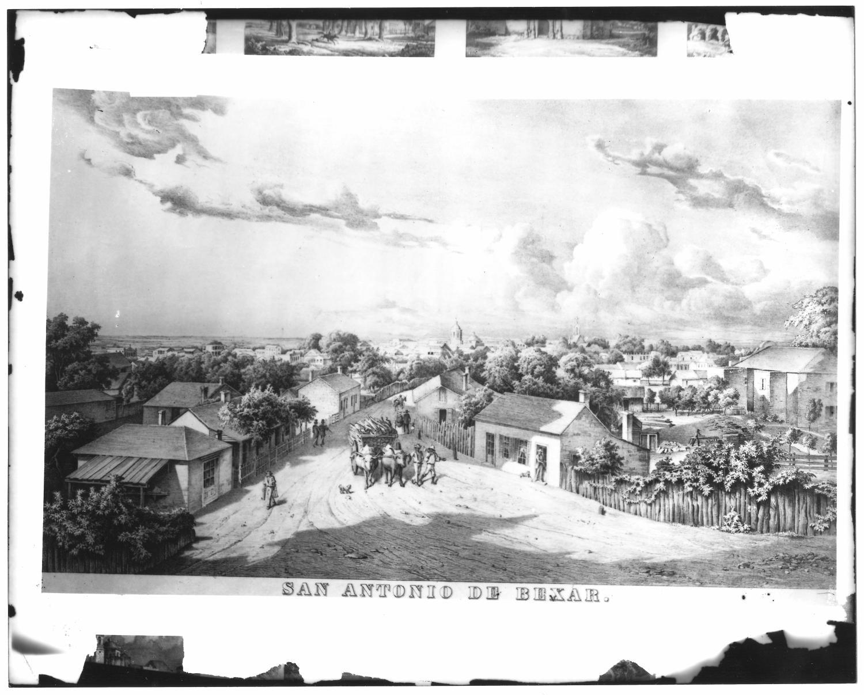San Antonio De Bexar Lithograph The Portal To Texas