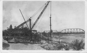 Primary view of object titled '[Early construction of the Brazos River Bridge in Richmond, Texas.]'.
