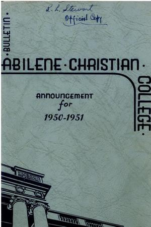 Primary view of object titled 'Catalog of Abilene Christian College, 1950-1951'.
