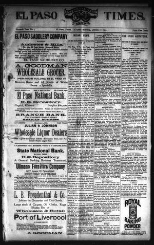 Primary view of El Paso International Daily Times. (El Paso, Tex.), Vol. ELEVENTH YEAR, No. 5, Ed. 1 Thursday, January 8, 1891