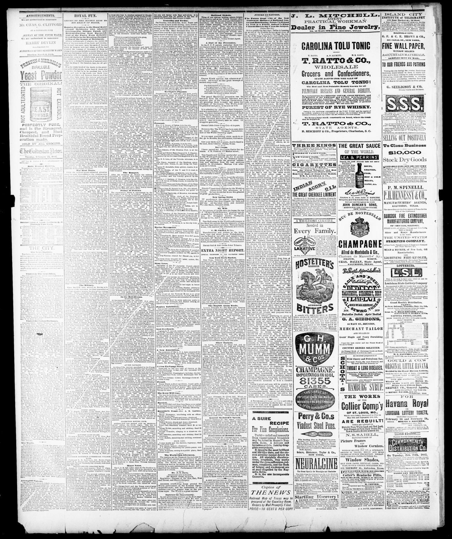 The Galveston Daily News  (Galveston, Tex ), Vol  40, No  287, Ed  1