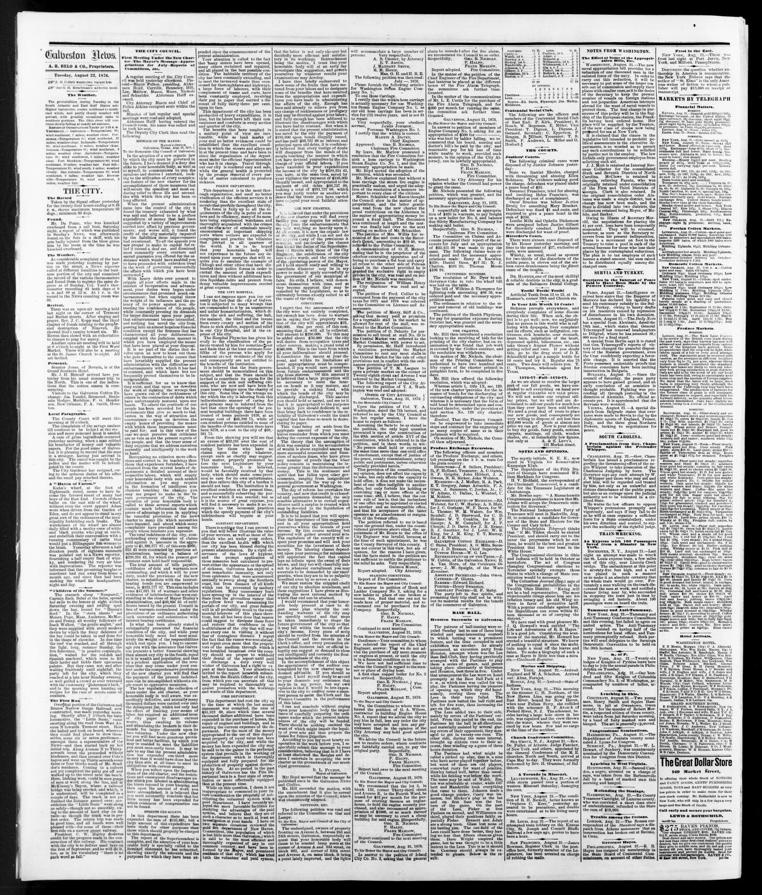 The Galveston Daily News. (Galveston, Tex.), Vol. 35, No. 130, Ed. 1 Tuesday, August 22, 1876                                                                                                      [Sequence #]: 4 of 4