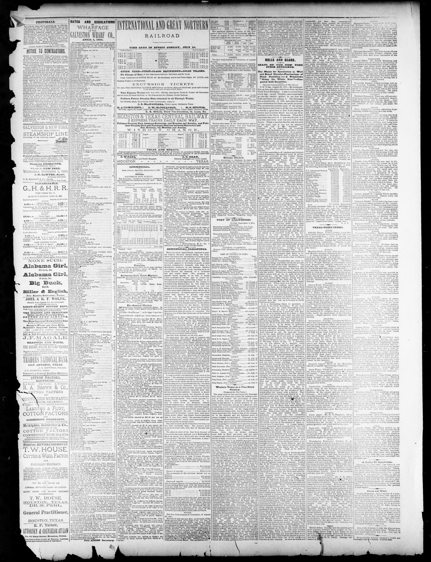 The Galveston Daily News. (Galveston, Tex.), Vol. 42, No. 165, Ed. 1 Monday, September 3, 1883                                                                                                      [Sequence #]: 3 of 4