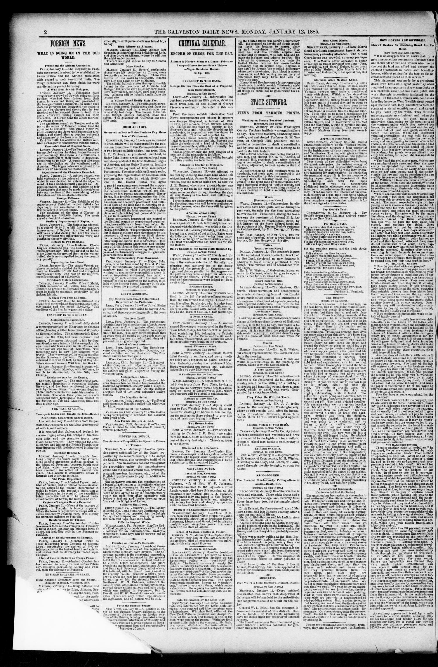 The Galveston Daily News. (Galveston, Tex.), Vol. 43, No. 264, Ed. 1 Monday, January 12, 1885                                                                                                      [Sequence #]: 2 of 8