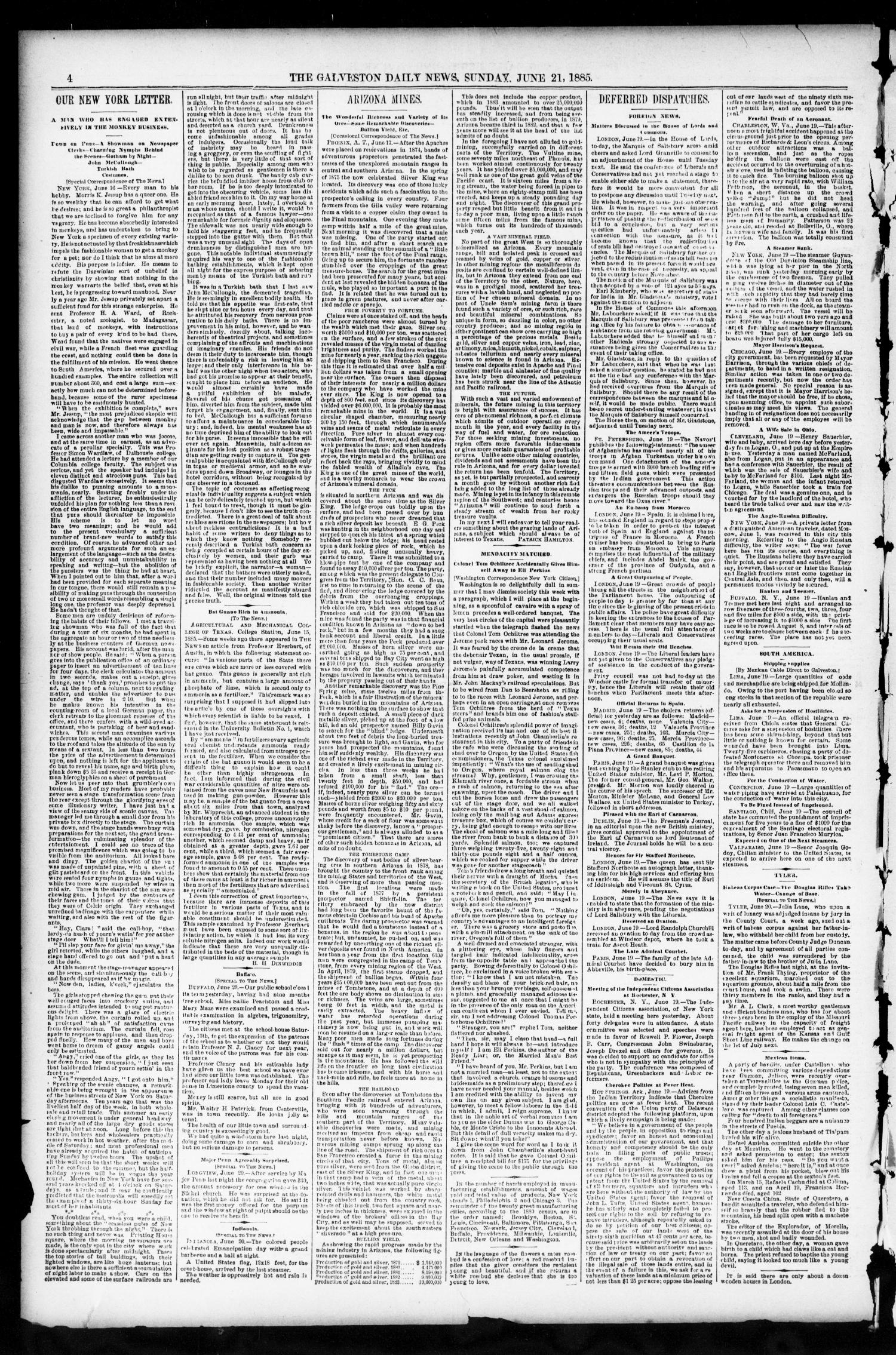 The Galveston Daily News. (Galveston, Tex.), Vol. 44, No. 59, Ed. 1 Sunday, June 21, 1885                                                                                                      [Sequence #]: 4 of 12