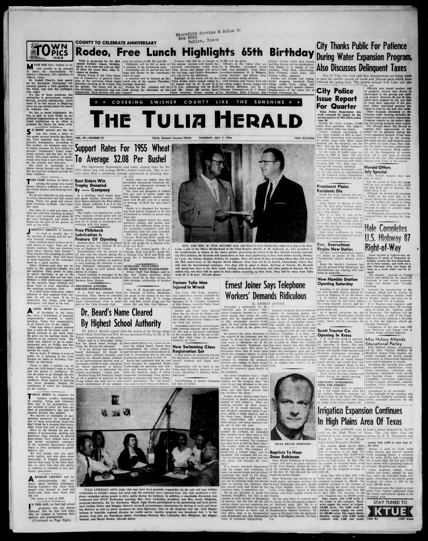 The Tulia Herald (Tulia, Tex), Vol. 48, No. 27, Ed. 1, Thursday, July 7, 1955                                                                                                      1