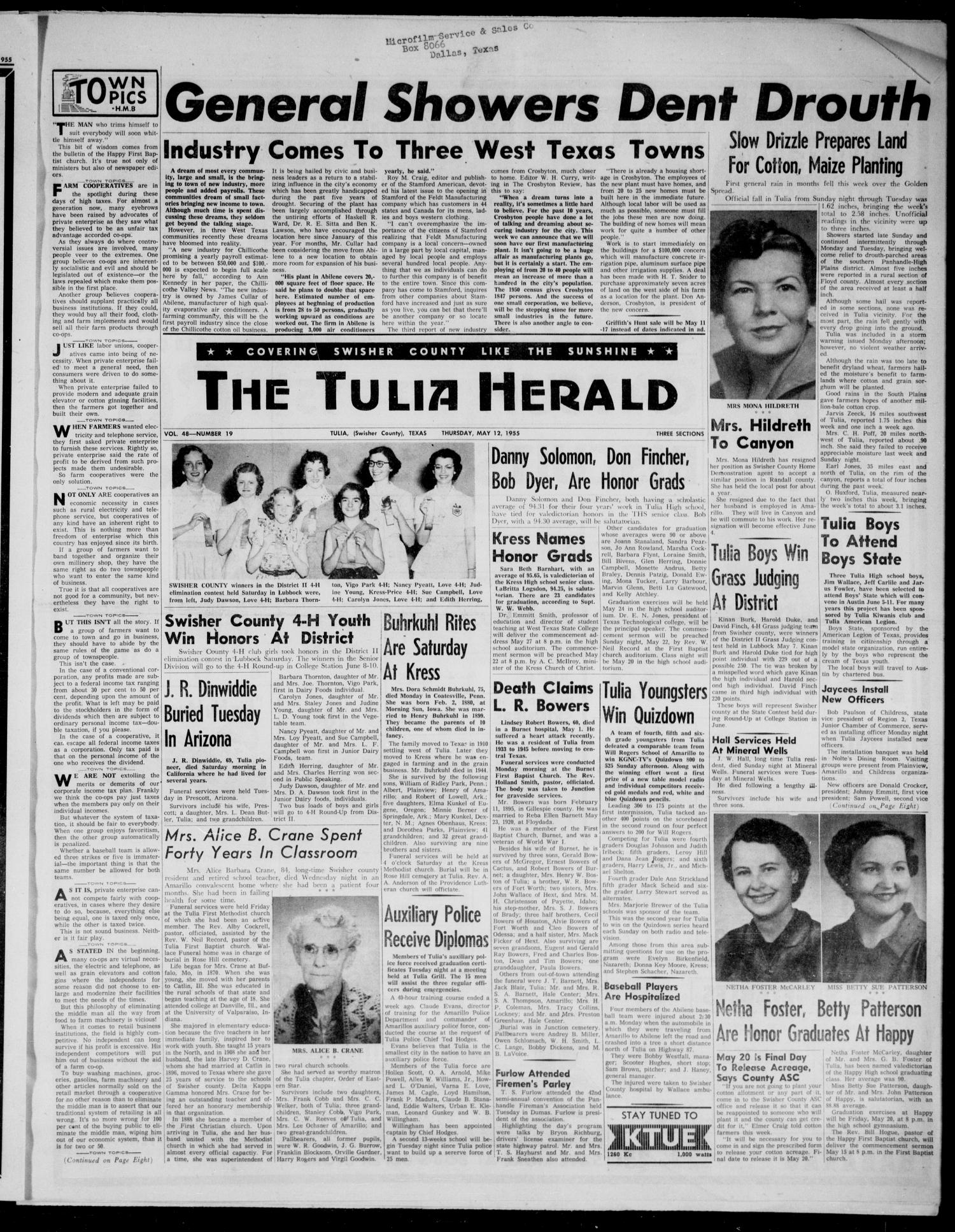 The Tulia Herald (Tulia, Tex), Vol. 48, No. 19, Ed. 1, Thursday, May 12, 1955                                                                                                      1